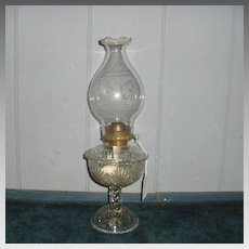 EAPG Burne Pattern Kerosene Oil Lamp w Antique Chimney