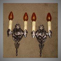 Tudor Cast Bronze Double Candle Wall Sconces - 4 available