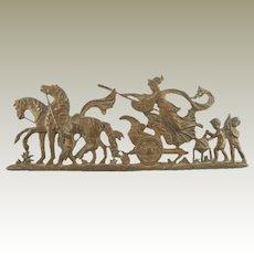 Antique Architectural Element Plaque Mount Trim or Hardware Featuring Chariots, Horses Cherubs, Putti