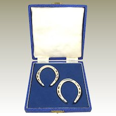 English Sterling Silver Napkin Rings in the form of Horse Shoes A Pair in Presentation Box