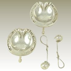 English Sterling Silver Salt Cellars & Spoons / Victorian 1869 /  Antique Solid Silver / Horseshoe Shaped Crops & Riding Helmet