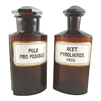 Antique Apothecary Bottles or Pharmacy Jars, Set of Two Amber with Enameled Labels