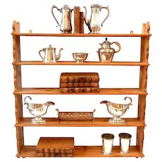Pine Wall Shelf Hanging Display 5 Tiered Display Shelves Farmhouse Style