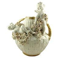 Antique Amphora Double Handled Vase Featuring Putti Cherubs & Roses Turn Tepliz Austria