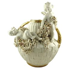 Antique Amphora Double Handled Vase Featuring Putti Cherubs & Roses Turn Tepliz Austria