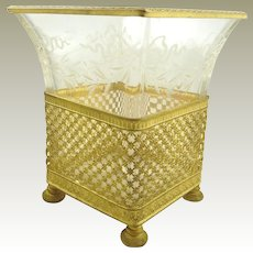 Antique French Gilt Ormolu and Crystal Vase Etched with Bows & Swags