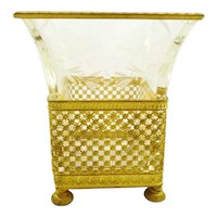 Antique French Empire Cache Pot or Vase, Gilt Ormolu and Crystal