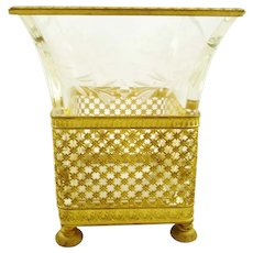 Antique French Empire Vase, Gilt Ormolu and Crystal