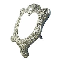 Antique Black Starr & Frost Heart Shaped Sterling Silver Dressing Mirror Easel Back