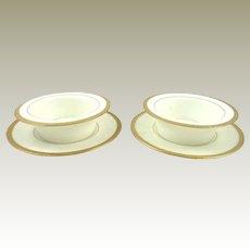 Set of Two Porcelain Ramekins & Plates Royal Doulton White with Raised Gilt Border C 1910