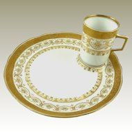 Antique Porcelain Dessert Plates with Demitasse Espresso Cups Set of Eight C 1890 Wilhelm & Graef