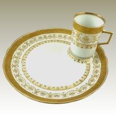 Antique Porcelain Dessert Plates with Demitasse Espresso Cups Set of Eight C 1890 Wilhelm & Graef