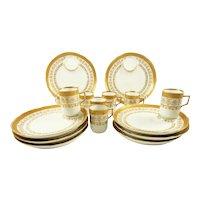 Antique Porcelain Dessert Plates & Demitasse Cups, C 1890 White with Gilt Trim