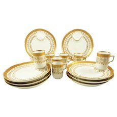 Antique Porcelain Dessert Plates & Demitasse Cups, C 1890 White with Gilt Trim