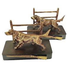Vintage Brass Dog Bookends Retriever Sporting Theme