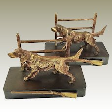 Vintage Brass Dog Bookends Retriever Sporting Theme