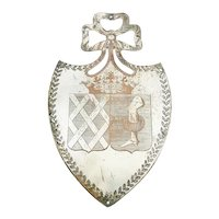 Antique French Plaque Shield Shaped  Silver over Copper with Crown and Armorial Crest  Architectural