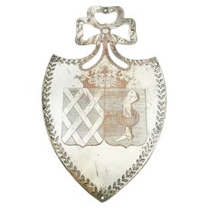 Antique French Plaque or Shield ,Silver over Copper with Crown of Marquis,  Armorial Crest