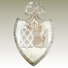 Antique French Architectural Shield Shaped Plaque Silver over Copper with Crown and Armorial Crest