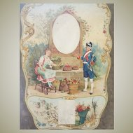 Antique French Architectural Element Soldier & Fruit Seller Oil Painting on Board Romantic Theme