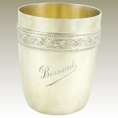 "Antique French Sterling Silver Timbale Goblet or Cup ""Bernard"" by Gustave Keller"