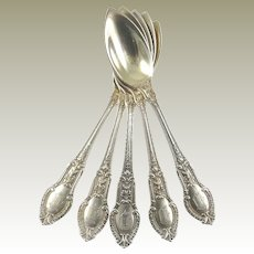 Gorham Sterling Silver Fruit/Orange Spoons with Gold Wash Tuileries Pattern