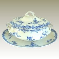 Antique Wedgwood Porcelain Blue and White Soup Tureen & Underplate/Platter