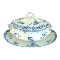 Antique Wedgwood Porcelain Blue and White Soup Tureen & Underplate or Platter, Dorothy Pattern