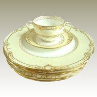 Antique Minton for Tiffany Set of Six Plates with Gilt & Six Bouillon Cups & Saucers C 1900