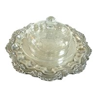 Antique Baccarat Crystal Cheese Bell Dome with Serving Platter
