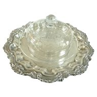 Antique Baccarat Crystal Cheese Bell Dome with Platter Engraved Monogram BC
