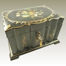 Papier Mache Tea Caddy Mother of Pearl Abalone Inlay Circa 1850