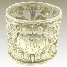 Antique English Sterling Silver Napkin Ring Pierced Work with Cherubs Victorian Era 1899