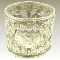 Antique English Sterling Silver Napkin Ring with Cherubs 1899