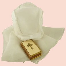 """Antique French Christening Cape with Hood for Baptism White Organza Christening Girls' Bonnet 32"""""""