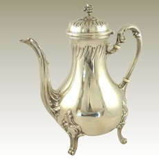 Antique French Sterling Silver Coffee or Tea Pot Louis Cognet Rococo Louis XV Style 22 Troy Ounces