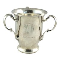 Antique Sterling Silver Loving Cup Gorham Three Handled Trophy C 1900 Bell Symbol Mark