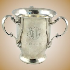 Antique Sterling Silver Loving Cup Gorham Three Handled Trophy C 1900 Bell Symbol Mark