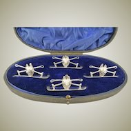Antique English Sterling Silver Menu Holders Fox Heads with Crops Set of Four Presentation Box Equestrian Interest