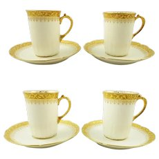 Limoges Demitasse Espresso Cups and Saucers Gold Encrusted  / Set of Four / William Guerin & Co