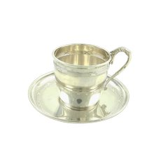 Antique French Sterling Silver Demitasse Espresso Cup Set / Antique Cup and Saucer / 950 1st Titre