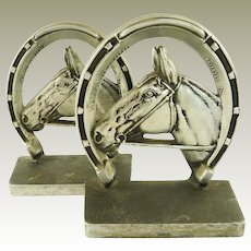 Equestrian Themed Bookends by Bruce Fox Horse Heads and Horseshoes - Victory-  Mid 20th Century