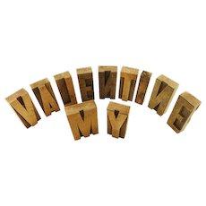 Vintage Wood Block Letterpress / My Valentine in Letters  /  Printing Letterpress / Printer Block /  Wood Letters / Vine / Mine / Wine