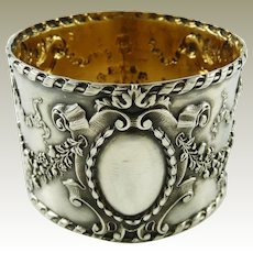Antique French Sterling Silver Napkin Ring / Ornate Musical Instruments / Floral Garlands & Ribbons