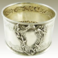 Antique French Sterling Silver Napkin Ring with Acanthus Garland Rococo Design