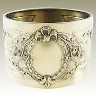 Antique French Silver Napkin Ring Ornate Ribbons & Flower Baskets
