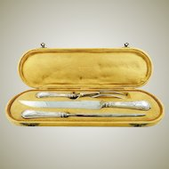 Antique Sterling Silver Carving Set Knife Fork & Honing Steel with Presentation Case