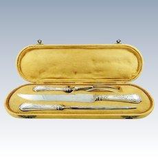 Antique Sterling Silver Carving Set Knife Fork & Honing Steel with Presentation Case