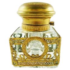 Antique French Crystal Inkwell Empire Design With Bronze Dore Neoclassical Wreaths & Ribbons