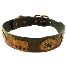 Vintage Swiss Mountain Dog Collar Leather & Brass / Featuring Cows/ Boy  with Dog